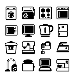 Household Appliances Icons Set on White Background vector image vector image