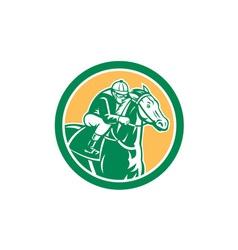 Jockey horse racing circle retro vector