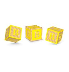 Letter b wooden alphabet blocks vector