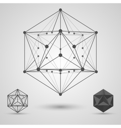 Monochrome frame of connected lines and dots vector