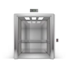 Open chrome metal office building elevator vector