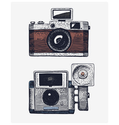 photo camera vintage engraved hand drawn in vector image vector image