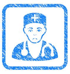 Physician framed stamp vector