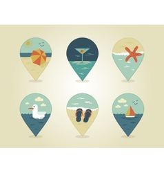 Pin map icons summer vector