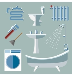 Pipeline plumbing icons in flat style vector image vector image