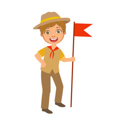 Scout boy with red flag dressed in uniform a vector