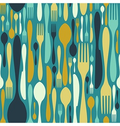 Seamless cutlery pattern in blue vector image vector image