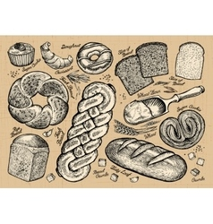 Set of bread and bakery products vector