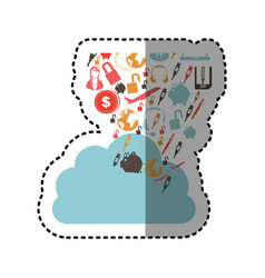 Sticker cloud in cumulus shape with set collection vector