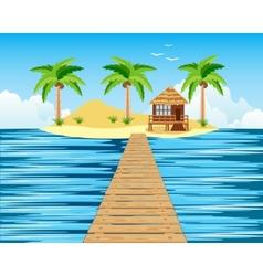 Wooden bridge to tropical island vector