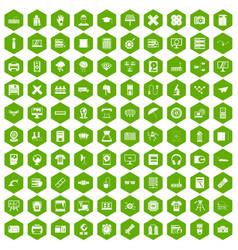 100 printer icons hexagon green vector
