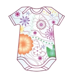 Baby body dress with gradient flowers vector image