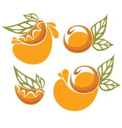 orange juice and fruit sticker vector image
