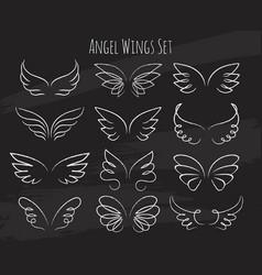 hand drawn angel wings on chalkboard vector image