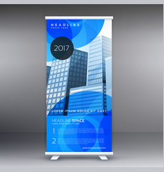 Stylish blue roll up banner template design for vector