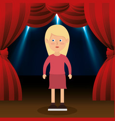 Woman avatar in theater vector