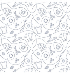 Thin line seamless pattern with sewing tools vector