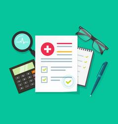 Medical research report flat vector