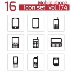 Black mobile phone icons set vector