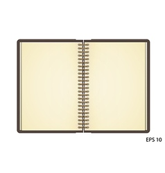 Open notebook with white page on wooden background vector