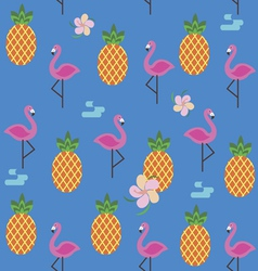 Summer seamless pattern with flamingo and vector