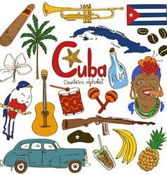 Collection of Cuban icons vector image