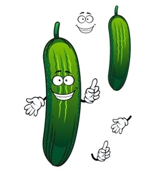 Cartoon funny green cucumber vegetable vector