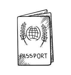 Passport sketch with globe on cover vector