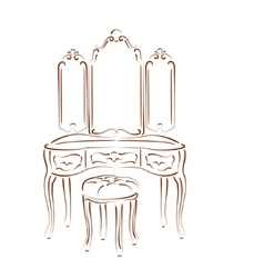 Sketched retro dressing console vector
