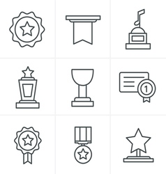 Line icons style medals icons vector
