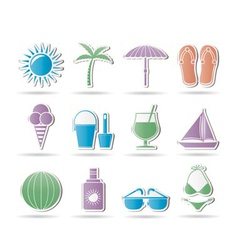 Holiday and beach objects vector