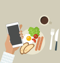 Breakfast with cofee and phone vector