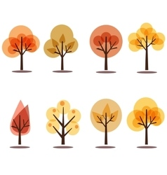 Autumn trees icons isolated on white vector