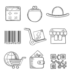 Set of retail and shopping sketch icons vector