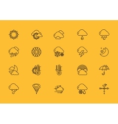 Symbols weather set of black outline icons vector