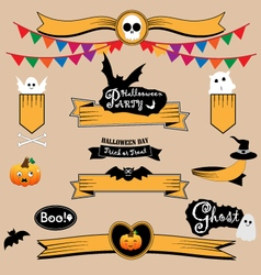 Halloween banners and ribbons vector image
