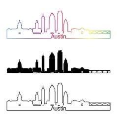 Austin skyline linear style with rainbow vector image