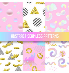 abstract seamless patterns set with golden glitter vector image