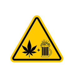 attention drugs and alcohol dangers yellow road vector image vector image