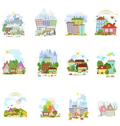Big collection of isolated towns and villages in vector