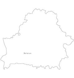 Black white belarus outline map vector