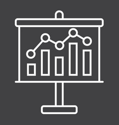 Business growing chart on board line icon vector