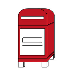 Color silhouette image red post office box vector