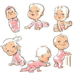 Cute babies in pink clothes vector image vector image