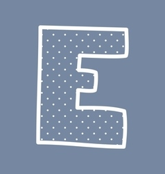 E alphabet letter with white polka dots on blue vector