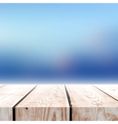 Fall blurred background with wooden table for your vector