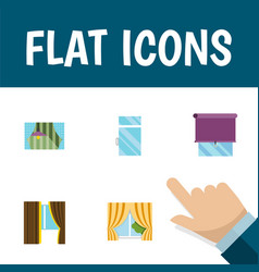 Flat icon frame set of clean glazing glass and vector