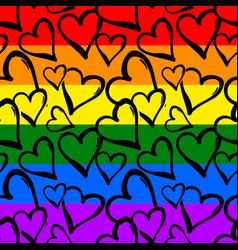 Gay pride rainbow colored hearts seamless pattern vector