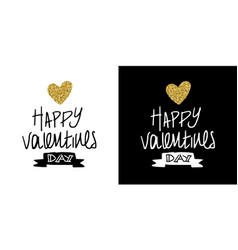 gold glitter valentines day greeting card quote vector image vector image