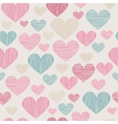 Hand drawn stripped hearts seamless pattern vector image